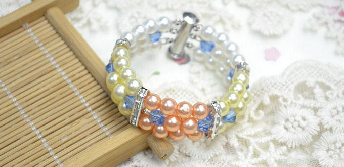 How to Make Multi Strand Pearl Bracelet with Wire and Beads