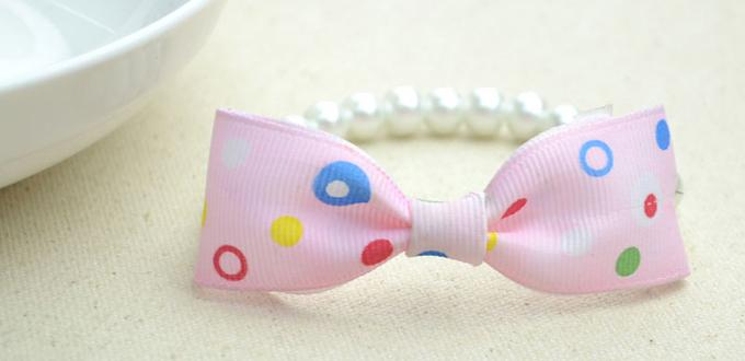 How to Make a Bow Tie Ribbon & Pearl Bracelet for Girls