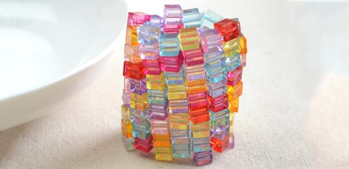 Color Bead Bracelets Bracelet With Cube Beads