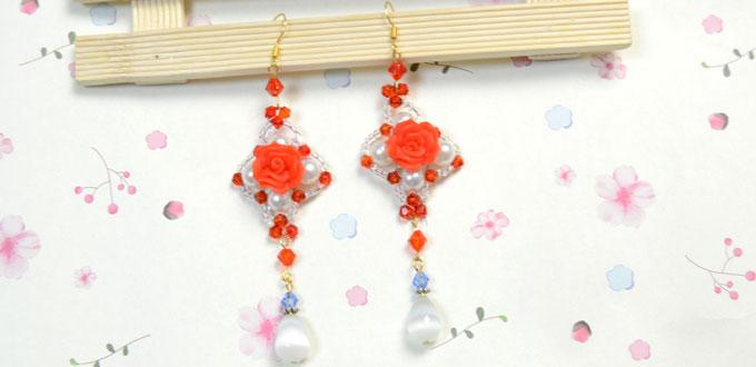 Illustrated Instructions on Making Charm Rose Earrings with Clay Beads
