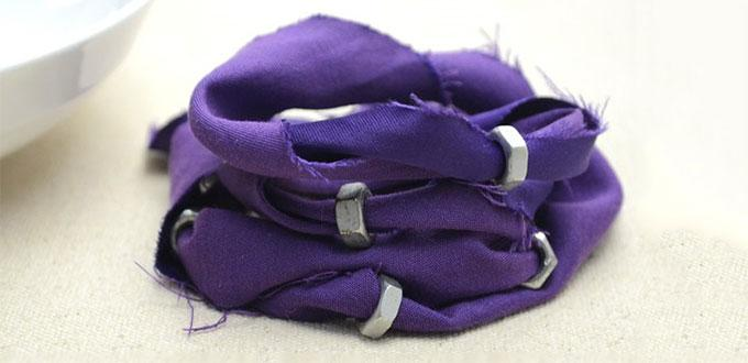 Tutorial on How to Make a Cool Recycled Bracelet with Fabric Scrap and Hex Nuts