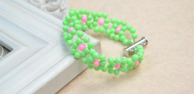 How To Make A Green Beaded Flower Bracelet For Kids