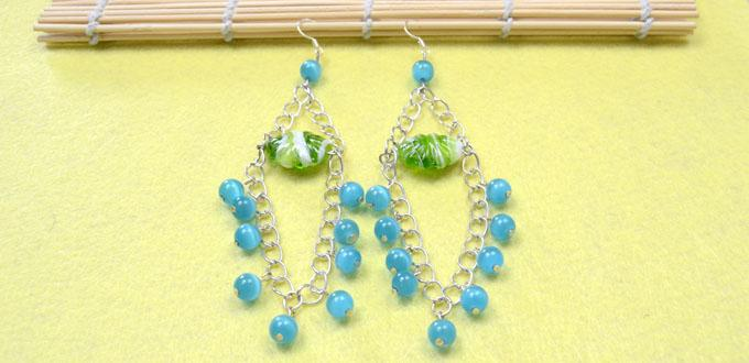 Easy jewelry ideas on making blue chandelier earrings with cat eye easy jewelry ideas on making blue chandelier earrings with cat eye beads and chains aloadofball Image collections