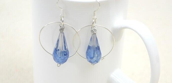 How to Wire Wrap Hoop Earrings with Painted Drop Glass Beads in a Cool Way