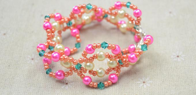 Easy Pattern on Making Pink Beaded Pearl Bracelet at Home