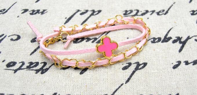 Simple Steps on Making a Double Pink Leather Bracelet with Chains and European Bead
