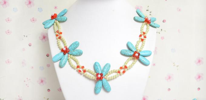 Beaded Necklace Idea-Making a Turquoise Dragonfly Necklace with Pearl and Glass Beads