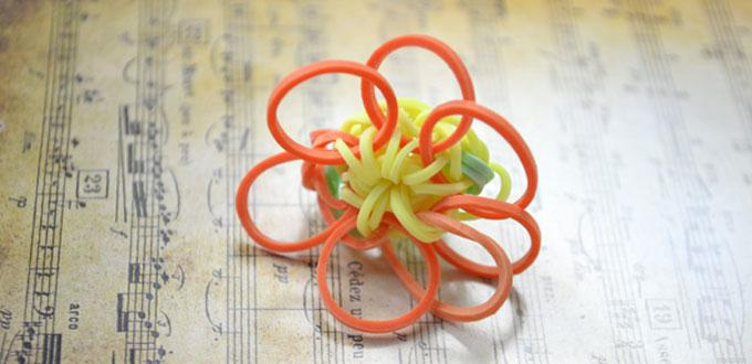 Kids Craft on How to Make a Sunflower Rubber Band Ring with Loom