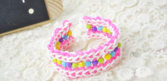 How To Make A Colorful Wide Loom Bracelet With Rubber