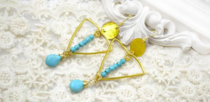 How to Make Big Gold Triangle Earrings with Wire and Turquoise