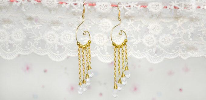 How to Make Gold Chain Link Dangling Earrings for Wedding