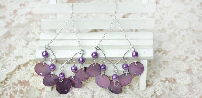 How to Make Purple Shell Chandelier Earrings for Summer