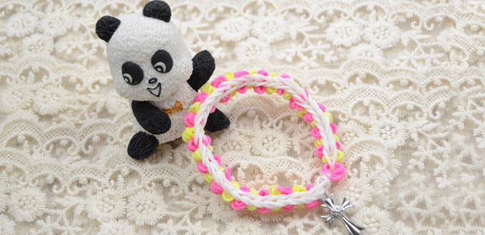 How to Make Cross Charm Rubber Band Bracelet