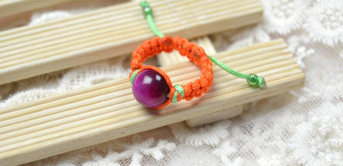 Easy Craft on How to Make an Orange Macrame Ring with Tiger Eye Bead