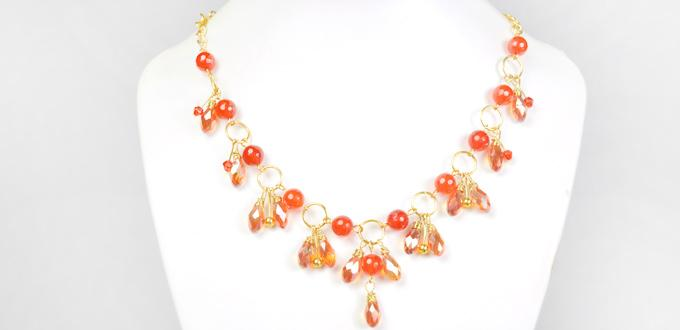 How to Make an Orange Bead Cluster Necklace with Golden Chain