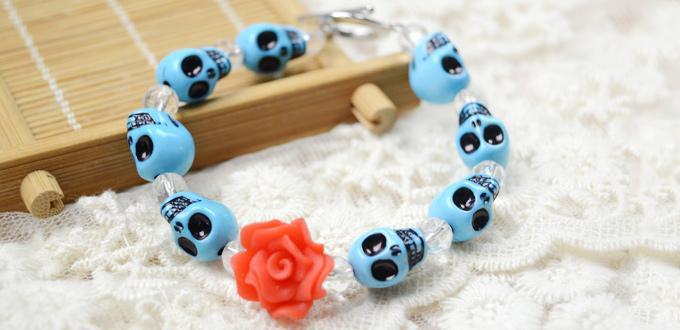How to Make an Easy Turquoise Skull Bracelet for Girls