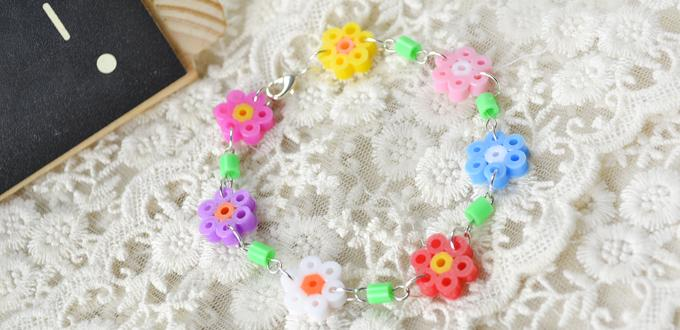 Kids Jewelry Design on How to Make a Hama Bead Flower Bracelet