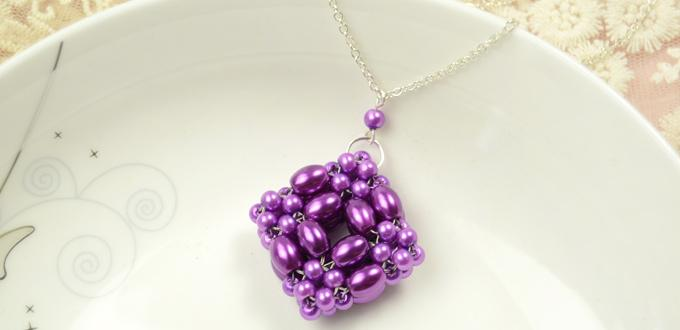How to Make a 3D Purple Square Pearl Beaded Pendant