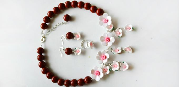 How to Make Elegant Polymer Clay Flower Bead Jewelry Set with Red Acrylic Beads
