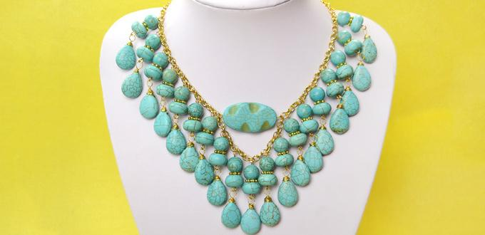 Office Lady Jewelry-DIY Turquoise Choker Necklace with Golden Chain