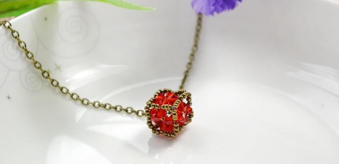 How to Make a Vintage Beaded Cube Pendant Necklace with Red Crystals