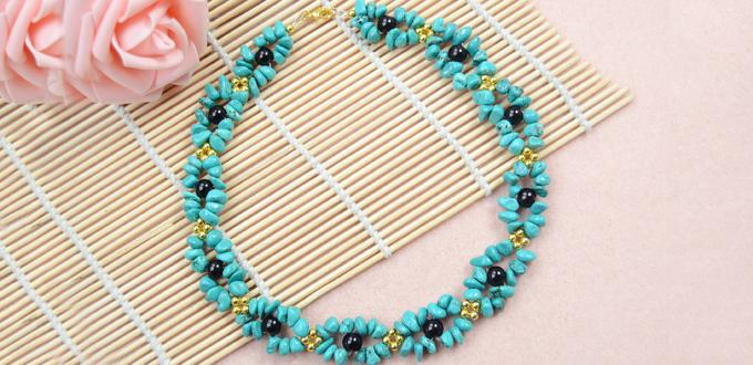 How to Make Beautiful Turquoise Necklace Design with Black and Gold Beads