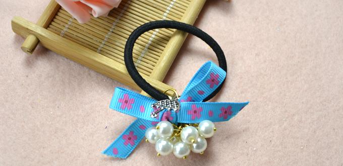 How to Make a Bow Hair Tie with Blue Ribbon and Ivory Pearl Beads