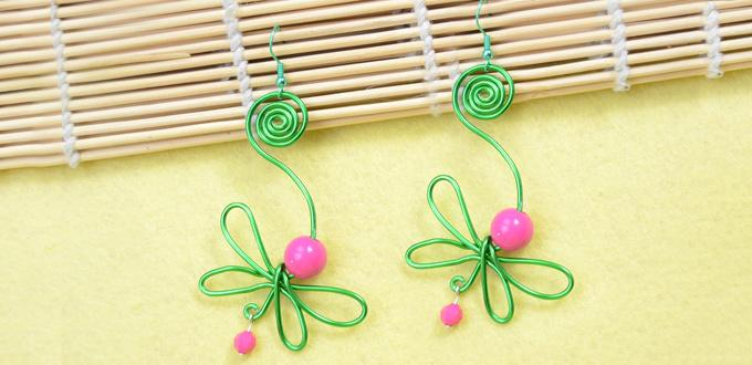 How to Wire Wrap Green Dragonfly Earrings with Hot Pink Acrylic Beads