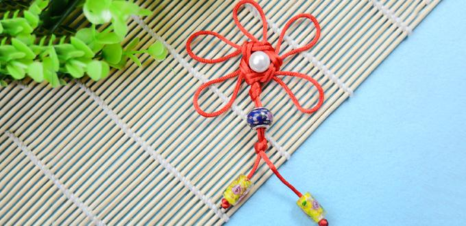 Chinese Knot Tying Tutorial-Make Red Traditional Decorative Flower Knot for Hanging