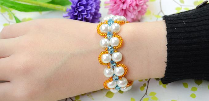 How to Make a Double Strand White Pearl Bracelet with Orange Seed beads