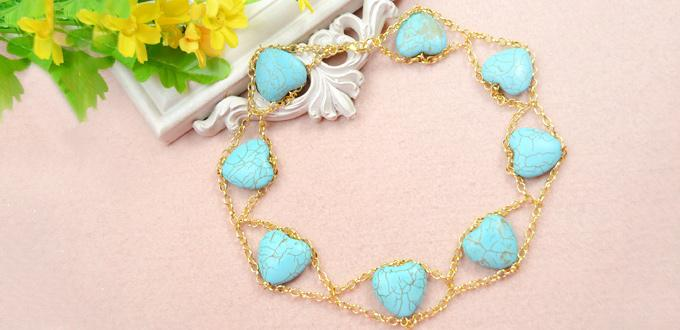 How to Make Your Own Double Gold Chain Necklace with Heart Turquoise Beads