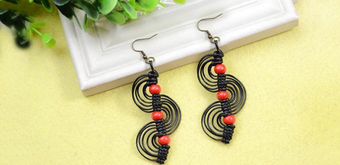 Micro Macrame Earrings Tutorial-DIY Black Macrame Spiral Earrings with Red  Wood Beads f9242f1f18e
