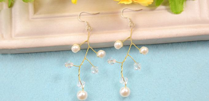 How to Make Wire Tree Branch Earrings with White Pearl and Clear Crystal Beads