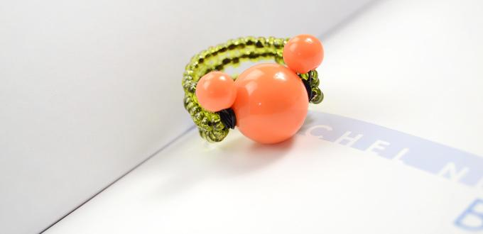 How to Make Wire Cute Orange Mickey Mouse Rings with Acrylic Beads and Seed Beads