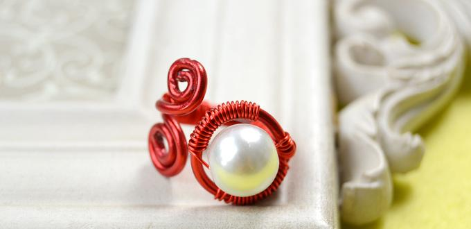 How to Make Vintage Red Wire Rings with White Pearl Beads