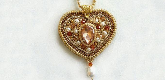 How to make a golden heart shaped pendant necklace with beads for how to make a golden heart shaped pendant necklace with beads for mothers day aloadofball Gallery