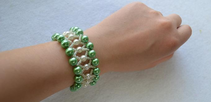 Pearl Bracelet Design-How to Make a Green Pearl Bead Bracelet