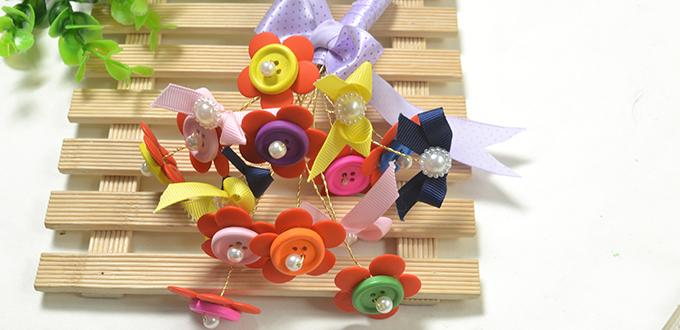 How to DIY Colorful Flower Button Bouquet Quickly
