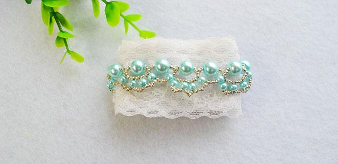 Woven Bracelet Tutorial-How to Make a Light Cyan Woven Pearl Bead Bracelet