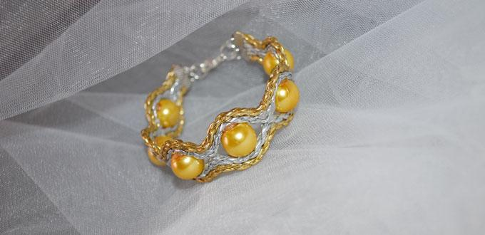 How to Make a Yellow PU Leather Cord Bracelet with Pearl Beads