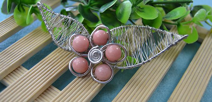 Wire Wrapped Flower Art Brooch Pin with Beads Tutorial