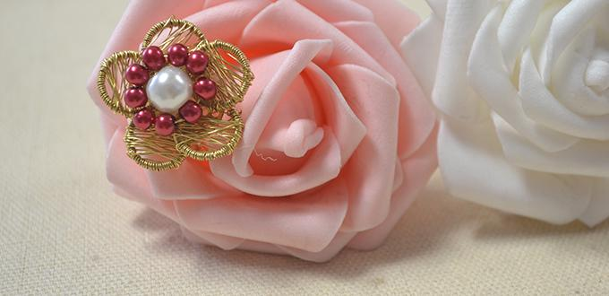 New Tutorial on How to Make a Stylish Wire Wrapped Pearl Flower Ring