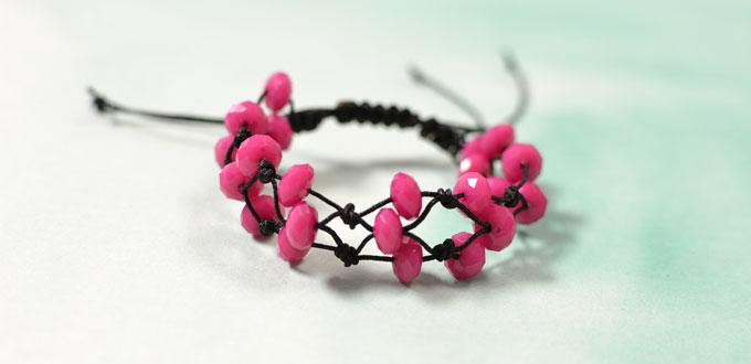 How to Make Adjustable Rose Colored Bracelets with Simple Knots