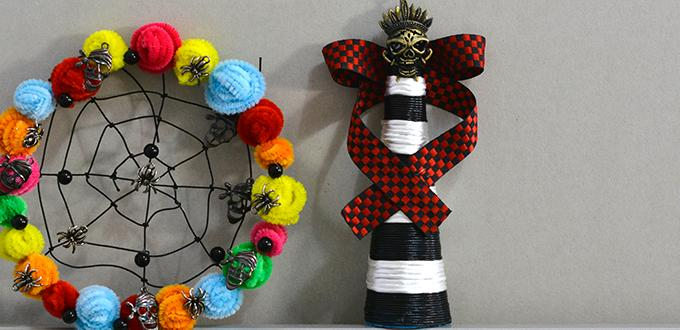 Quick and Easy Halloween Ideas-Making a Skull Decoration with Ribbons and Threads