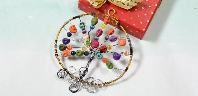 Simple Halloween Craft Idea-Making a Wire Wrapped Colorful Skull Beads Halloween Tree