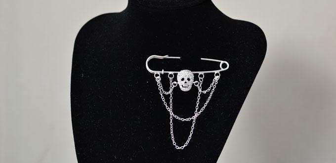 Skull Brooches DIY – How to Make Halloween Jewelry with Silver Chains