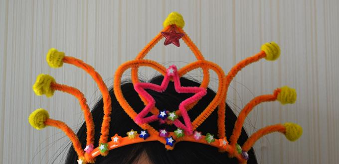 How to Make an Orange Hair Band Craft with Chenille Stems