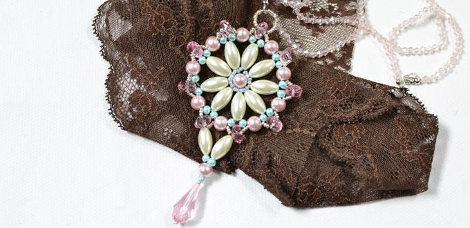 Pandahall Instructions on How to Make a Bridal Pink and White Pearl Pendent Necklace
