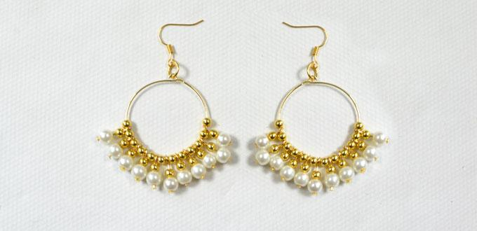 Wedding Earring Design – How to Make Elegant Gold Beaded Hoop