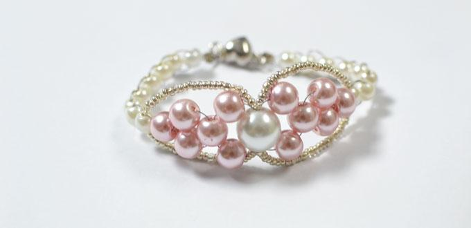 How to Make a Charm Pink Pearl Beaded Bracelet Step by Step